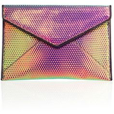 Rebecca Minkoff Leo Hologram Leather Envelope Clutch ($95) ❤ liked on Polyvore featuring bags, handbags, clutches, accessories, leather clutches, man bag, rebecca minkoff handbags, leather handbags and leather handbag purse