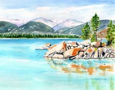 Art Prints on Paper, Canvas, Metal, Acrylic & Wood. Shop a variety of products for your Home Décor & Lifestyle. Unique Watercolor Paintings by artist Carlin Blahnik of CarlinArtWatercolor Alpine Lake Landscape, Lake Tahoe. Landscape Photos, Landscape Art, Sand Harbor Lake Tahoe, Lake Painting, Contemporary Art Prints, Thing 1, Watercolor Landscape Paintings, California Art, Canvas Prints
