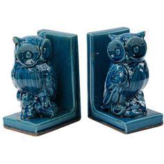 2 Piece Owl Bookend Set - beautiful teal blue!