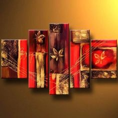 Abstract Flower Painting, Red Canvas Painting, Extra Large Wall Art, Acrylic Art, 5 Pannel Painting Set - Silvia Home Craft