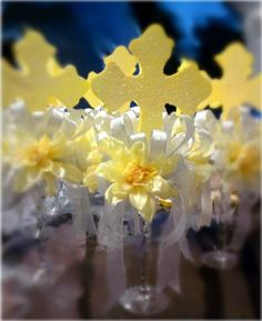 Baptism centerpieces...would change color theme to silver and white with some bling ;)
