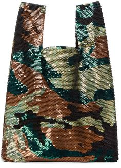 Ashish SSENSE Exclusive Green & Black Sequined Tote