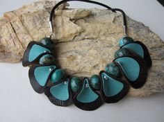 Leather Petals Gemstone Necklace Chocolate Brown and by garbanke, $65.00