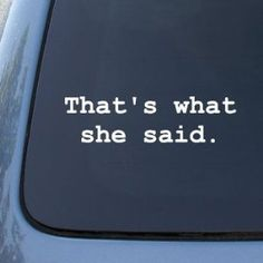 THAT'S WHAT SHE SAID - The Office - Vinyl Car Decal Sticker #1676   Vinyl Color: White by NS-FX, http://www.amazon.com/dp/B001R95954/ref=cm_sw_r_pi_dp_NGFMpb1T9Y9M4