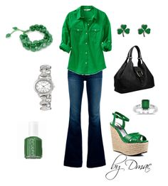 St. Paddy's Day by dmac30 on Polyvore featuring polyvore fashion style Old Navy J Brand Bebe Gucci Nine West clothing