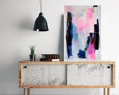Abstract pink painting, original abstract art, pink blue and white painting, pink and gold abstract vertical wall decor by Julianne Strom
