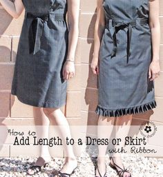 How to Add Length to a Dress or Skirt with Ribbon {OneCreativeMommy.com} Tutorial Full Instructions and Lots of Pictures