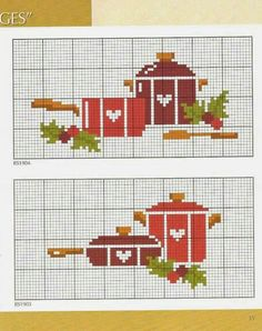 Christmas Pots and Pans, bad link Cute Cross Stitch, Cross Stitch Heart, Cross Stitch Borders, Cross Stitch Designs, Cross Stitching, Cross Stitch Embroidery, Cross Stitch Patterns, Cross Stitch Kitchen, Rico Design