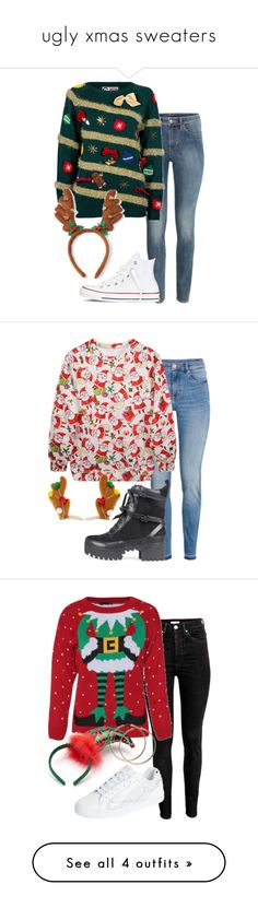 """http://rubies.work/0324-sapphire-ring/ """"ugly xmas sweaters"""" by bekahtee ❤ liked on Polyvore featuring Converse, H&M, Topshop, George and Vanessa Mooney"""