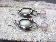 Green Jade Grey Glass Tiffany EarringsLong by MaryBulanova on Etsy