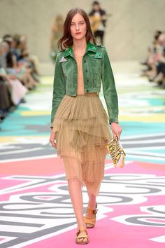 London Fashion Week, Burberry Prorsum, SS15 - love the tulle and emerald jacket