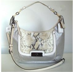 Damn it- I never was one for the name brand handbag and ESPECIALLY not for the Coach craze, but I heart this bag and want to make it my own!!     Authentic Coach Kristin Linen Embossed Python Expandable Leather Large Hobo Handbag 16809 Antique Nickel/Ivory Coach,http://www.amazon.com/dp/B005WNNXKY/ref=cm_sw_r_pi_dp_E5vnrb03R288FZ12