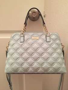 Kate Spade Astor Court Small Rachelle Grace Blue Quilted Leather Satchel