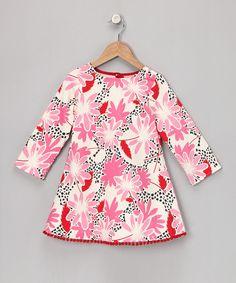 Pink Long-Sleeve Pom-Pom Dress - Infant, Toddler & Girls