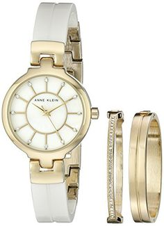 Anne Klein Womens AK2048GBST GoldTone and White Ceramic Bangle Watch  Bracelet Set ** Find out more about the great product at the image link.