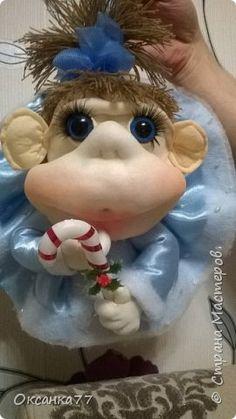 Игрушка Новый год Шитьё Обезьянка- снегурочка Капрон фото 1