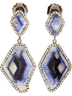 KIMBERLY MCDONALD Double Sapphire Slice And Diamond Drop Earrings