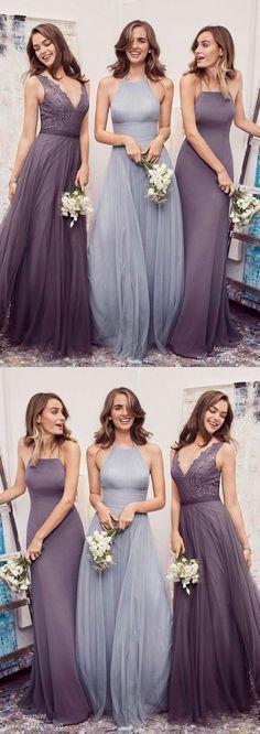 0ee42f2ed7 Lavender Light Blue Chiffon Bridesmaid Dress