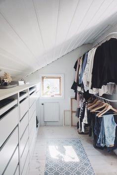 Best Indoor Garden Ideas for 2020 - Modern Attic Master Bedroom, Upstairs Bedroom, Attic Rooms, Attic Spaces, Closet Bedroom, Loft Closet, Ikea Closet, Loft Room, Attic Bedroom Storage