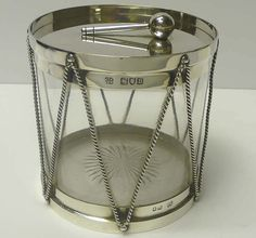 Novelty Drum Biscuit Jar in Silver and Glass for sale - waxantiques online gallery of antique silver