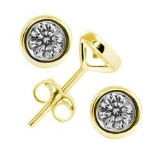 6mm 7mm 9mm 10mm 11m Bezel Set Round Russian Brilliant CZ Solitaire Stud Post Earrings 14k Yellow Gold over Solid 925 Sterling Silver