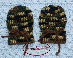Crocheted Camo Baby Hat and Matching Thumbless by Grandmabilt, $39.00