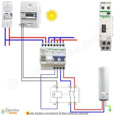 Schéma contacteur jour-nuit / heure creuse pour chauffe eau ou ballon eau chaude en mode automatique de jour