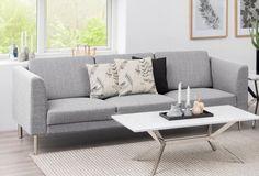 COPENHAGEN Canapé droit fixe 3 places Tissu gris clair Contemporain - Cdiscount