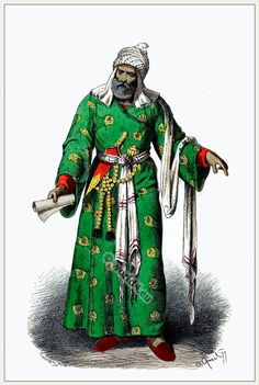 Medieval Middle East clothing. Persian scholar costume in 1450.