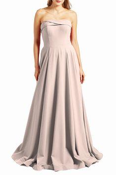 MACloth Women Prom Dresses Strapless Long Formal Evening Military Ball Military Ball Gowns, Simple Gowns, Strapless Prom Dresses, Blush Pink Dresses, Satin Sash, Classy Dress, Hemline, Short Dresses, Embellishments