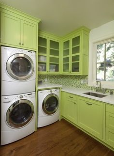 love the colorful cabinets, white countertop, beautiful backsplash