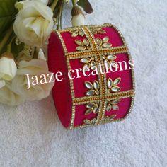 Pink Kundan Bangles, Silk Bangles, Bridal Bangles, Homemade Jewelry, Diy Jewelry, Beaded Jewelry, Fancy Jewellery, Thread Jewellery, Silk Thread Bangles Design
