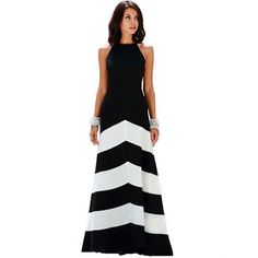 Vestido Formal Largo sin Mangas para Mujer-Negro con Blanco