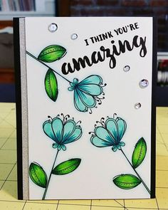 I tried a different blue-ish combo on this card using these fun flowers from #wplus9. #copic #prettypinkposh