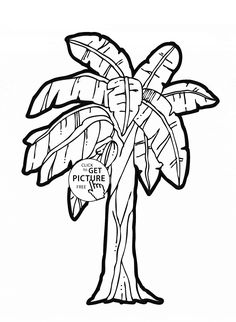 Banana Tree - fruit coloring page for kids, fruits coloring pages printables free - Wuppsy.com