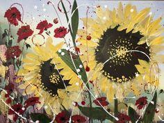 Sunflower shimmer, large framed painting