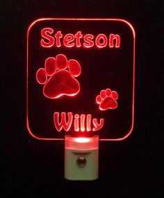 """Personalized #Dog and #Cat #Paws LED night light ♦3D Engraved 3/8"""" Clear Acrylic ♦ #handmade ♦ #nursery ♦ muliticolor Led lights"""