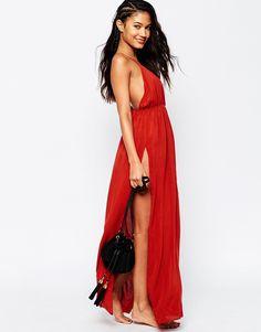 Image 4 ofASOS Lattice V Neck Maxi Beach Dress