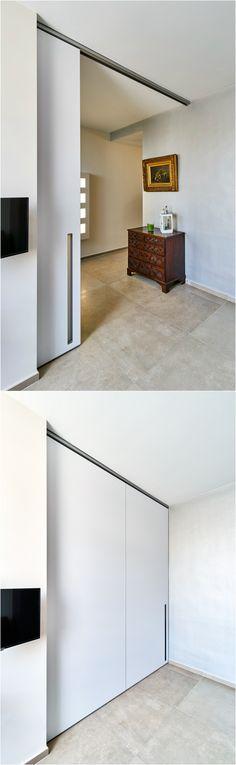 Huge white sliding door without visible floor guidance. #slidingdoor #slidingdoors
