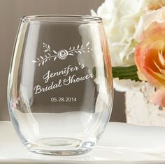 Personalized Stemless Wine Glass Rustic Flower Design | Wedding Favor Discount