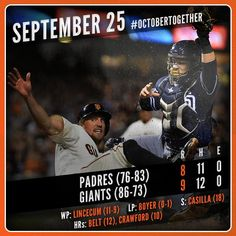 9/25/14 ~ SFGIANTS headed into post-season play, win this evening and celebrate on their home field @ ATT - Hunter Pence scores the winning run on Matt Duffy's squeeze bunt in the 7th inning as the Giants down the Padres. Recap: http://atmlb.com/1u2Hqqt