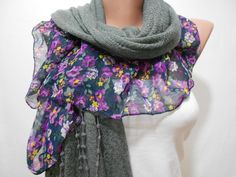 Floral Gray Scarf Shawl Cowl Scarf with Violet Purple Flower Prints Women Winter Fashion Accessories Mothers Day Gift Ideas For Her