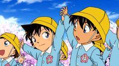 theyre so cute when shinichi n ran were in kindergarden:) Detective Conan Gin, Detective Conan Shinichi, Ran And Shinichi, Kudo Shinichi, Conan Movie, Detektif Conan, Happy Tree Friends, Manga Anime, Anime Art