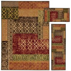 Enjoy luxurious style and function, with the addition of this gorgeous 3-piece area rug set. Encompassing the very best of both fashion and function, this set of rugs offers style, affordability and ease of care.