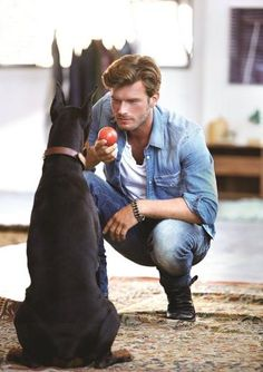 KIVANÇ TATLITUĞ  and his dog are so cute- I have dogs too.....we have so much in common.....haha