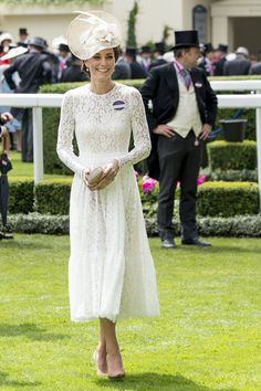 Kate Middleton Stuns in White Lace at the Royal Ascot - HarpersBAZAAR.com