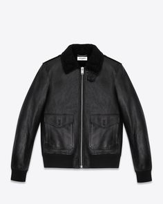 Classic Saint Laurent leather flight jacket with shearling collar, gusseted armholes, 2 flap pockets and ribbed cuffs and hem.