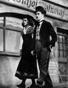 Charlie Chaplin and Paulette Godard in The Great Dictator directed by Charlie Chaplin, 1940