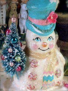 Aqua and Pink Snowman