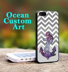 Anchor Galaxy ChevrOn  - Print on Hard Cover iPhone 5 Black Case